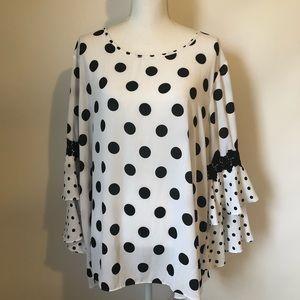 Sami & Jo NEW blouse womens 3X white black